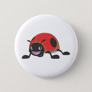 Cool Red Baby Ladybug Cartoon Pinback Button