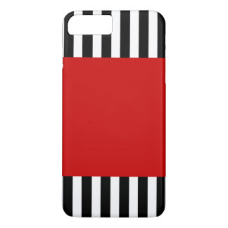 Cool Red Black and White Striped Pattern iPhone 8 Plus/7 Plus Case