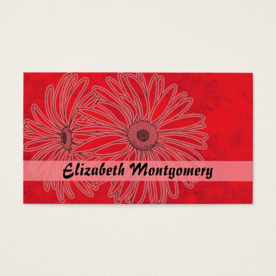 Cool Red Daisy Spa Appointment Business Card