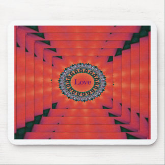 """Cool Red  Dimensional """"Tunnel of Love"""" Mouse Pad"""