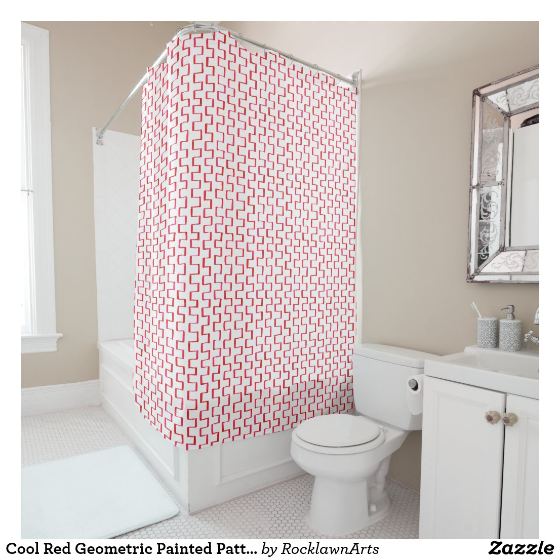 Cool Red Geometric Painted Pattern Shower Curtain