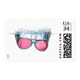 Cool Red Glasses Water Splash Art Stamp