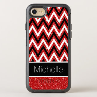 Cool Red Glitter Black White Chevrons Pattern OtterBox Symmetry iPhone 8/7 Case