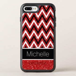 Cool Red Glitter Black White Chevrons Pattern OtterBox Symmetry iPhone 8 Plus/7 Plus Case