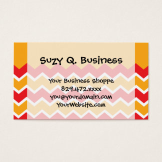 Cool Red Gold Chevron Zigzag Striped Pattern Business Card