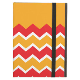 Cool Red Gold Chevron Zigzag Striped Pattern iPad Folio Case