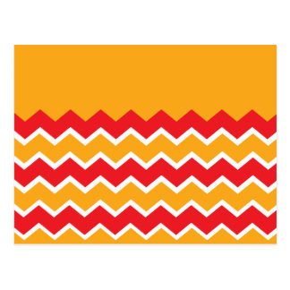 Cool Red Gold Chevron Zigzag Striped Pattern Postcard