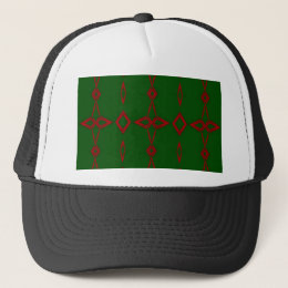 Cool Red Green Christmas Pattern Trucker Hat