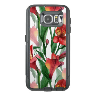 Cool Red & Green Lily Illustration Pattern OtterBox Samsung Galaxy S6 Case