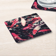 Cool Red Koi Fish in the Water Square Paper Coaster