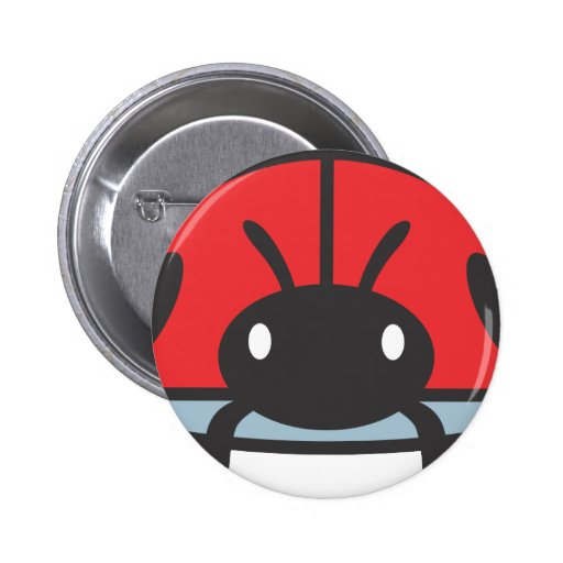 Cool Red Ladybug Cartoon Button