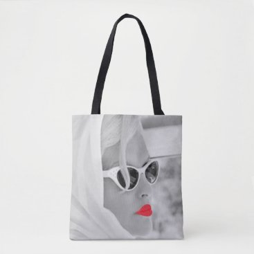 Beach Themed Cool Red Lips Retro Woman Graphic Art Bag