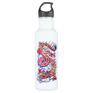 Cool Red Oriental Dragon in Clouds tattoo Stainless Steel Water Bottle