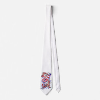 Cool Red Oriental Dragon in Clouds tattoo Tie