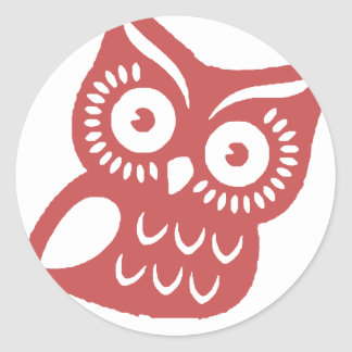 Cool Red Owl Classic Round Sticker