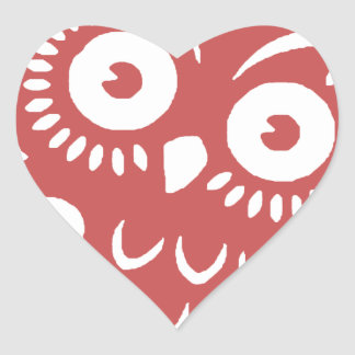 Cool Red Owl Heart Sticker
