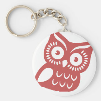 Cool Red Owl Basic Round Button Keychain