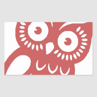 Cool Red Owl Rectangular Sticker