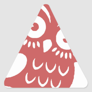 Cool Red Owl Triangle Sticker