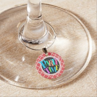 Cool Red Retro Pattern Wine Glass Charms