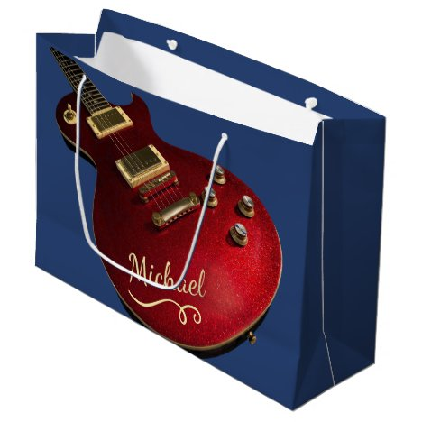 Cool Red Sparkle Electric Guitar Rock Music Blue Large Gift Bag