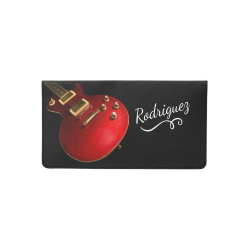 Cool Red Sparkle Electric Rock Guitar On Black Checkbook Cover
