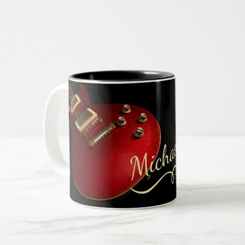 Cool Red Sparkle Electric Rock Guitar On Black Two_Tone Coffee Mug