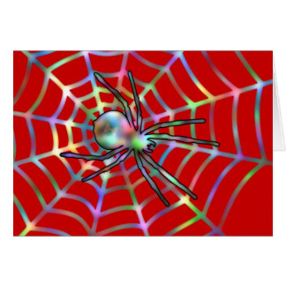 Cool Red Spider On Web Card