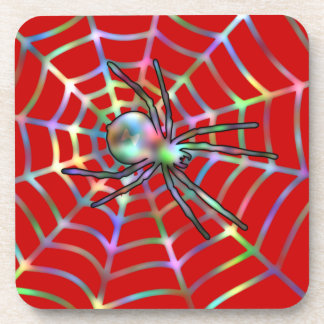Cool Red Spider On Web Coasters