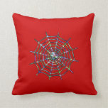 Cool Red Spider On Web Throw Pillows