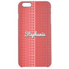 Cool Red Squares Pattern Clear iPhone 6 Plus Case