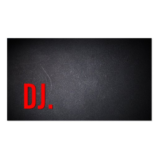 Cool Red Text Black Out DJ Business Card