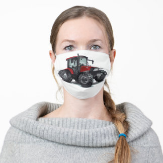 Cool Red Tractor Farm Equipment Farmer Work Men's Adult Cloth Face Mask
