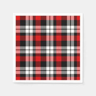 Cool Red White Black Lumberjack Tartan Pattern Napkin