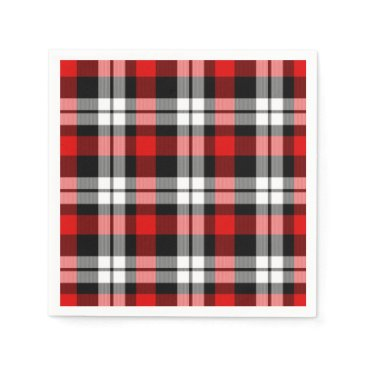 ZizzleZazz Cool Red White Black Lumberjack Tartan Pattern Napkin