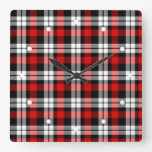 Cool Red White Black Lumberjack Tartan Pattern Square Wall Clock