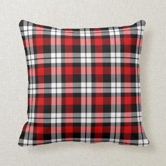 Cool Red White Black Lumberjack Tartan Pattern Throw Pillow