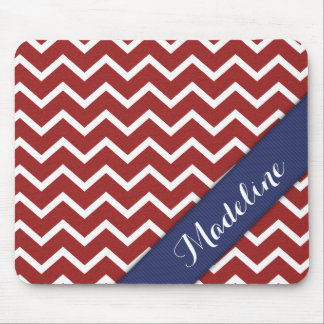 Cool Red White Chevron Blue Ribbon Mouse Pad