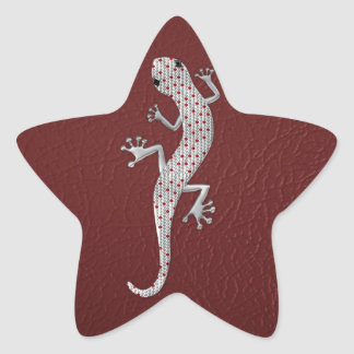 Cool red white dots lizard silver metal effects star sticker