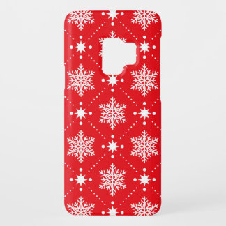 Cool Red White Snowflakes Christmas Pattern Case-Mate Samsung Galaxy S9 Case