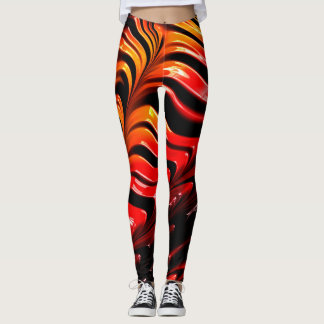 Cool Red Yellow Abstract Neon Glowing Fractal Leggings