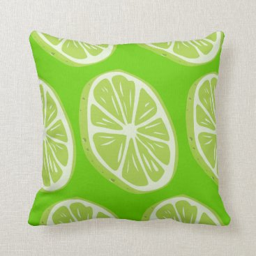 Beach Themed Cool Refreshing Summer Lime Fruit Slices Modern Throw Pillow