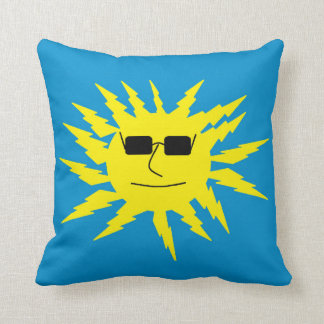 Cool Relaxing Sun Face Design Blue Throw Pillow