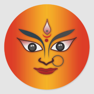 Cool religion face Indian mask goddess Classic Round Sticker