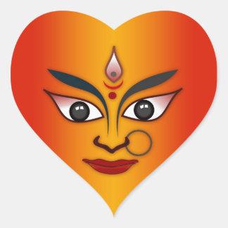 Cool religion face Indian mask goddess Heart Sticker