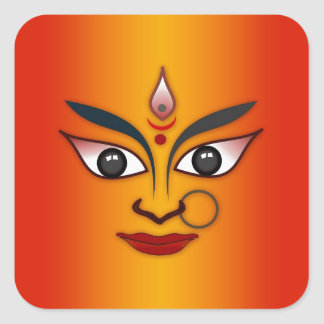 Cool religion face Indian mask goddess Square Sticker