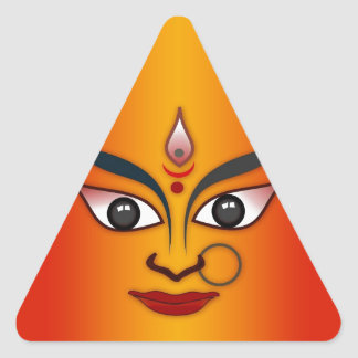 Cool religion face Indian mask goddess Triangle Sticker