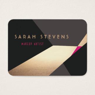 Cool Retro Abstract Gold Makeup Artist Modern Business Card