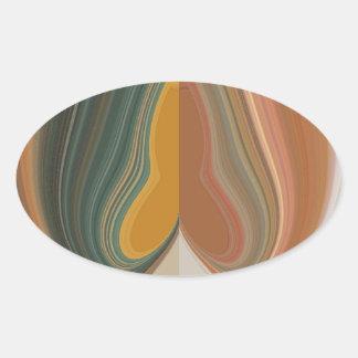 Cool Retro Abstract Graphic colorful Matata strand Oval Sticker