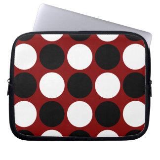 Cool Retro Black White Polka Dots on Maroon Laptop Sleeve